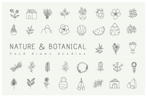 Nature & Plants Minimalist Doodles