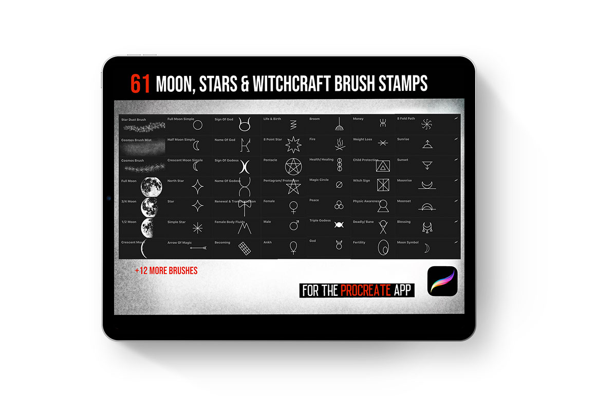 Procreate Tattoo Moon, Stars & Witchcraft brushes
