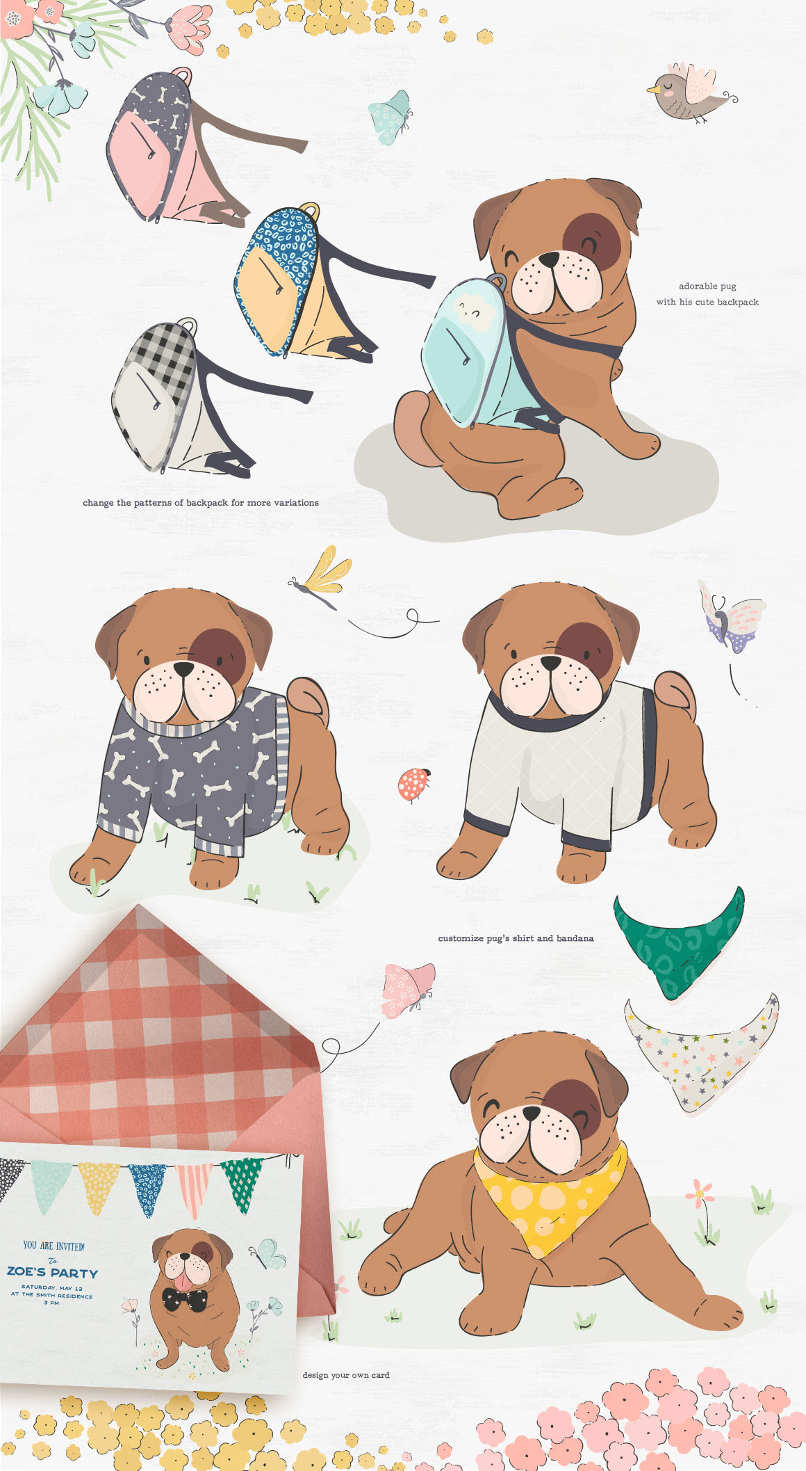Pugs and Friends Illustrations and Patterns