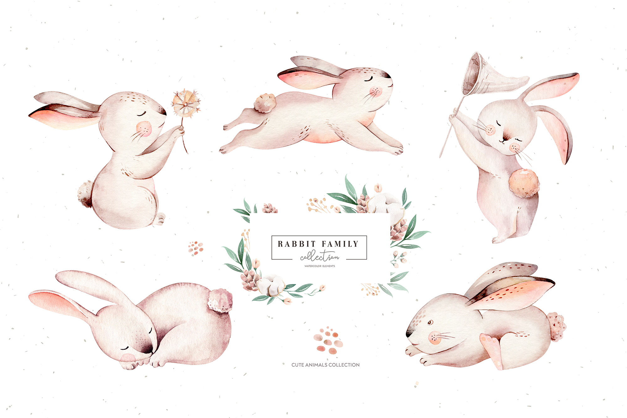 Rabbit Family. Watercolor Collection
