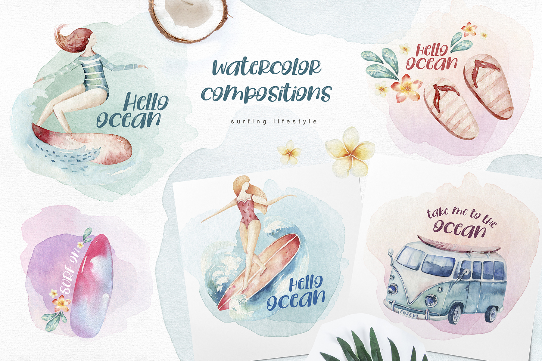 Surfing Lifestyle - Watercolor Ocean Collection