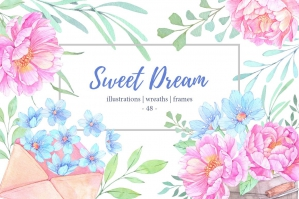 Sweet Dream. Watercolor Set. Peony Flowers