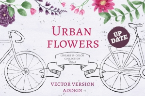Urban Flowers: Clipart, Templates, Patterns