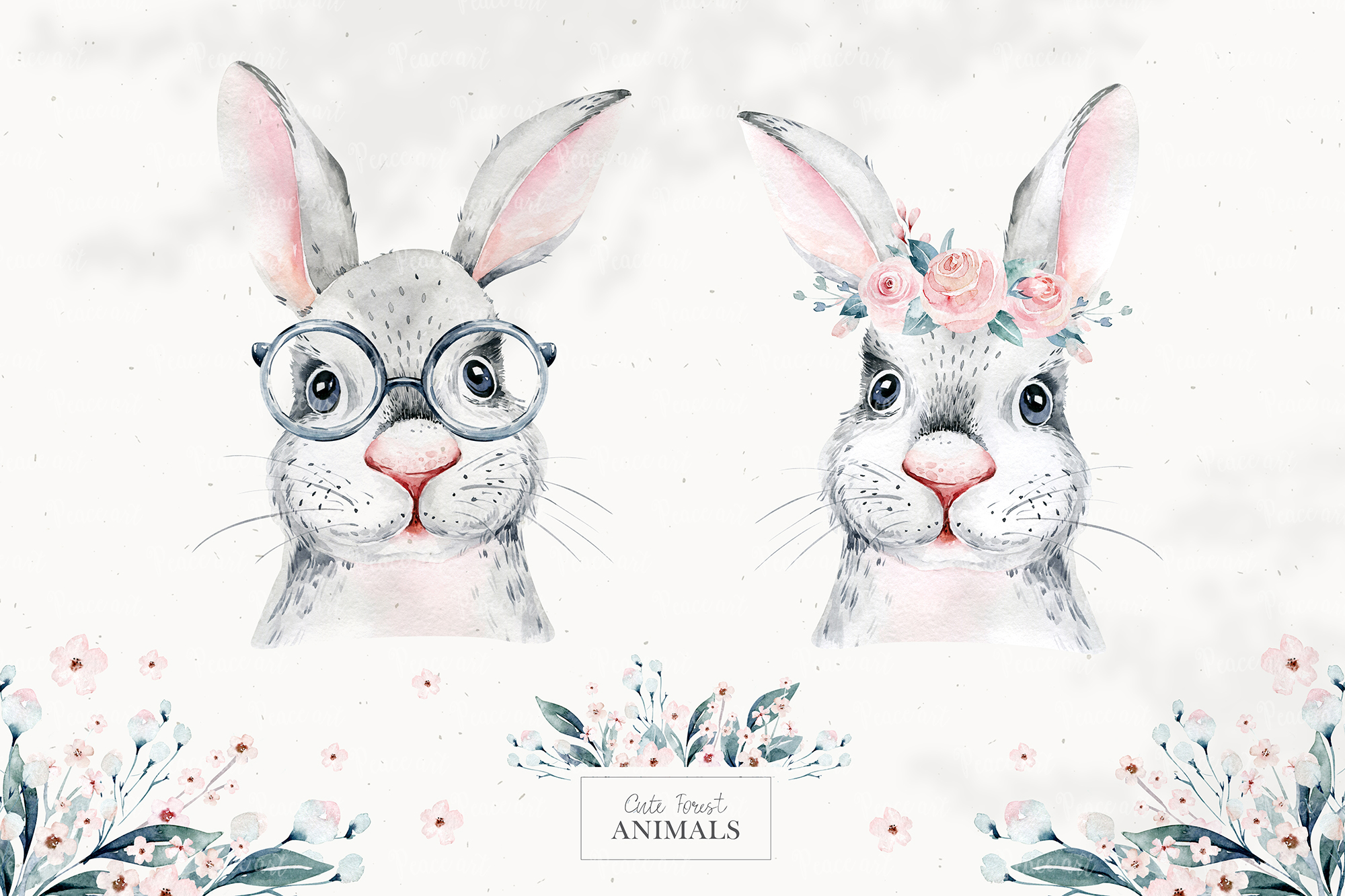Watercolor Forest Animals Portrait Collection
