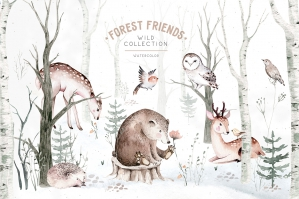 Watercolor Scandinavian Forest Friends Animal Set
