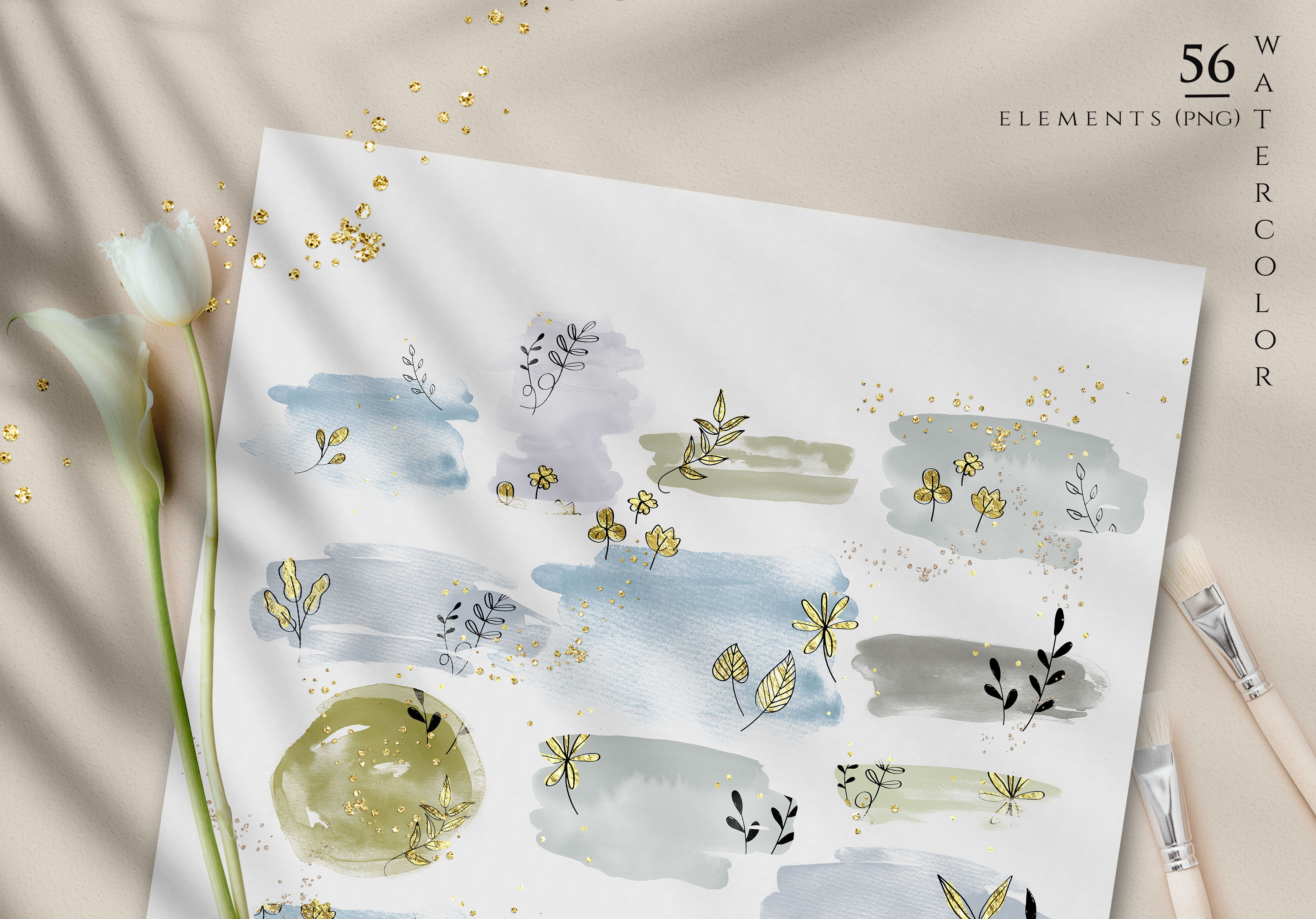 Watercolor Shapes Botanical Overlays