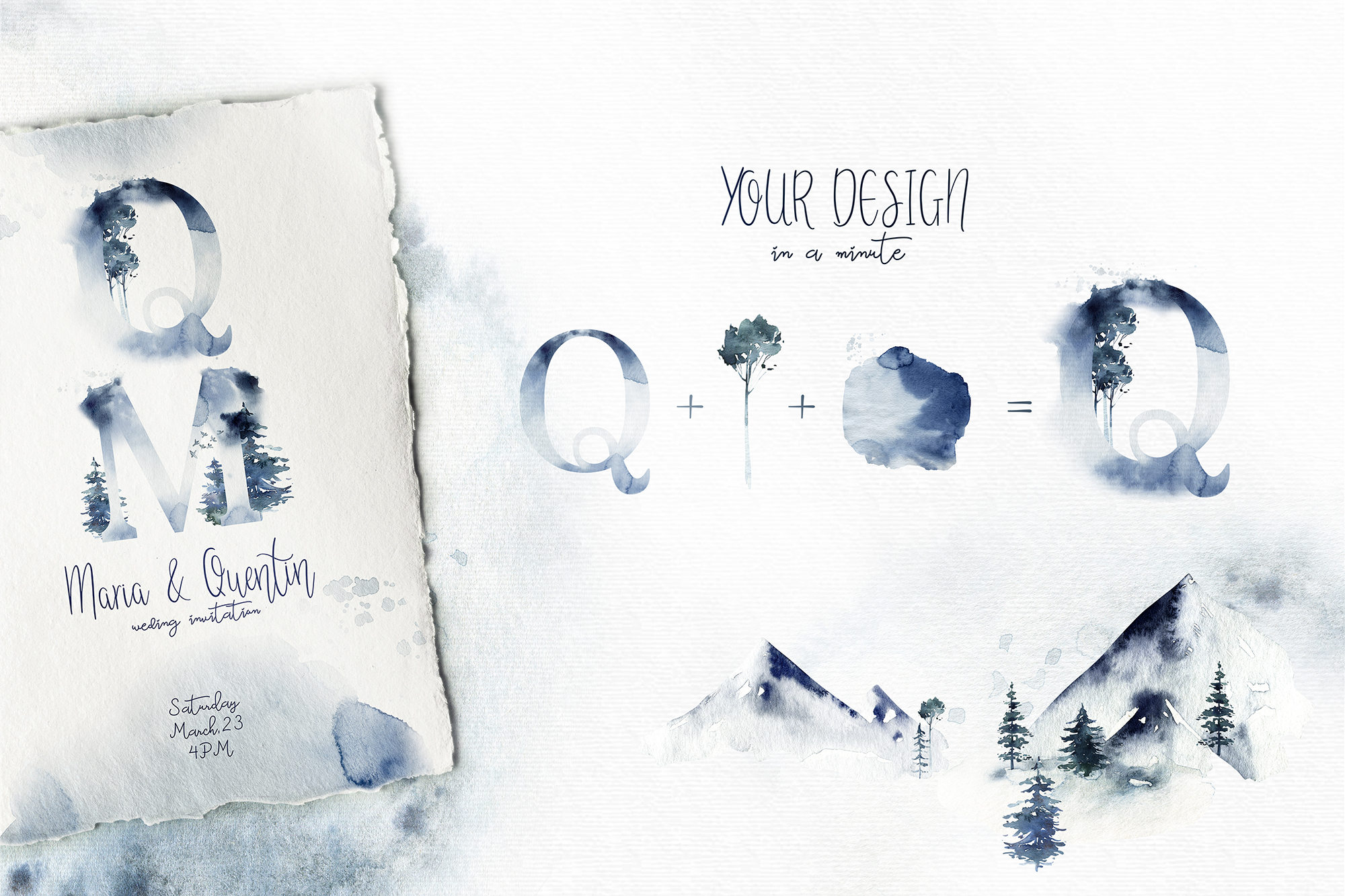 Winter Time Alphabet Watercolor Collection