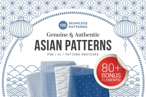 100 Asian Patterns + Bonus Elements