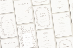 12 Nude Wedding Invitation Templates