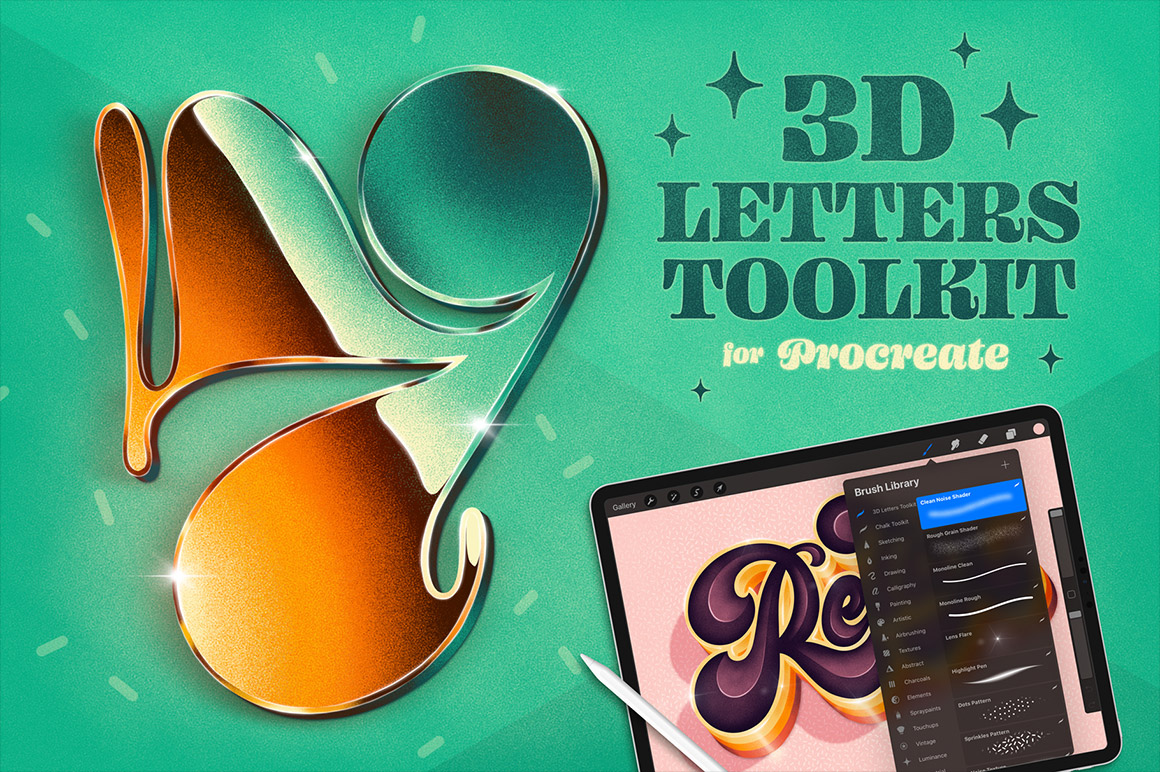 3D Letters Toolkit for Procreate