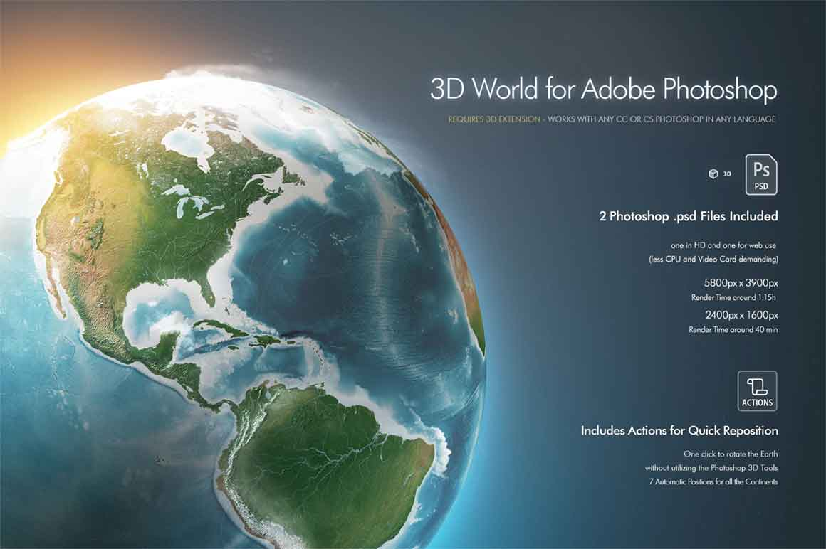 3D Planet Earth World for Photoshop