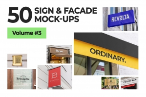50 Sign Facade Logo Mockup Bundle 3