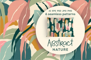 Abstract Nature. 6 Seamless Patterns