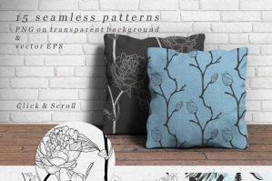 Black Hand Sketched Rustic Floral Patterns