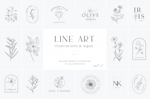 Botanical Illustrations & Logo Templates Vol.3