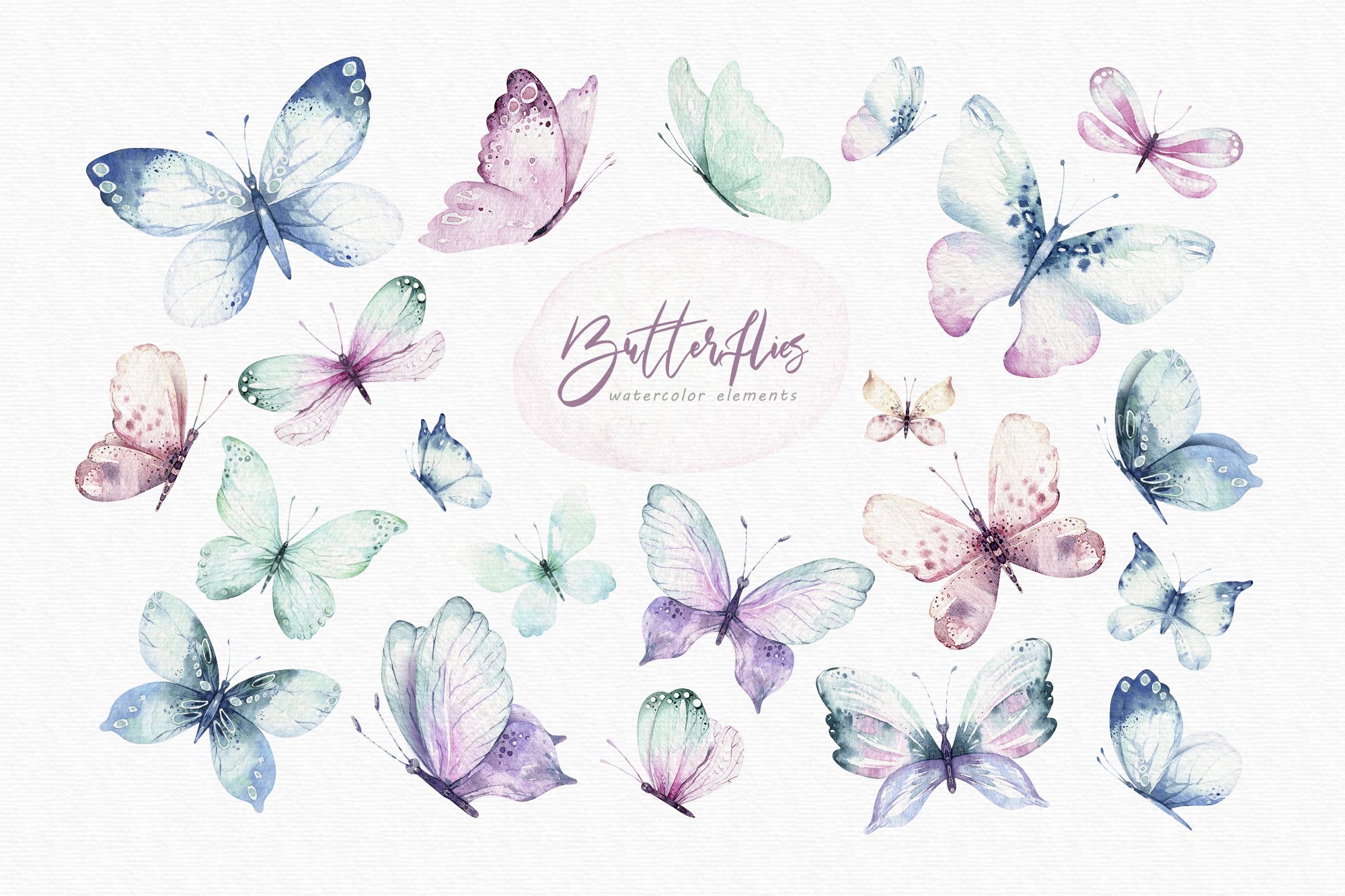 Butterfly, Dragonfly and Funny Bugs Watercolor Set