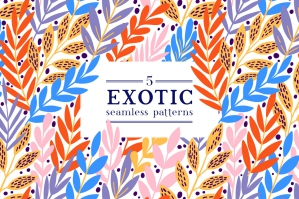 Exotic Leaves Seamless Pattern