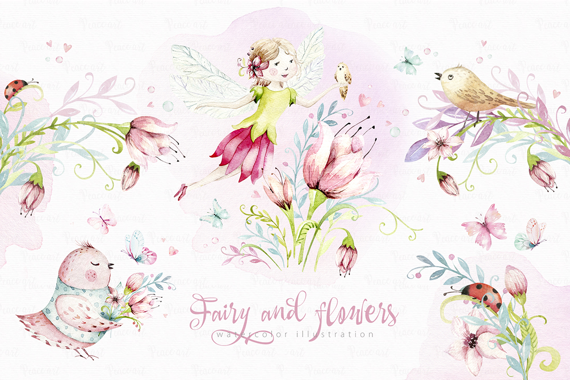 Fairy and Flowers Magic Watercolor Collection