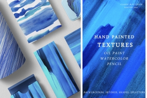 Hand Painted Textures. Classic Blue Color
