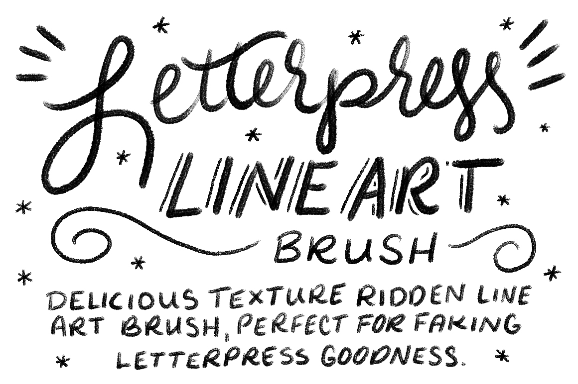 Letterpress Lineart Photoshop Brush