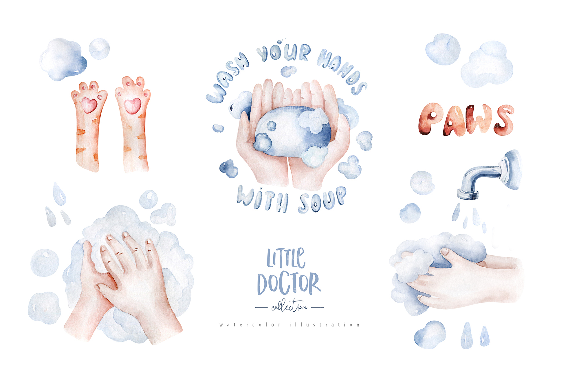 Little Doctor Cute Watercolor Animals Collection