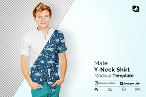 Male Y-Neck Shirt Mockup
