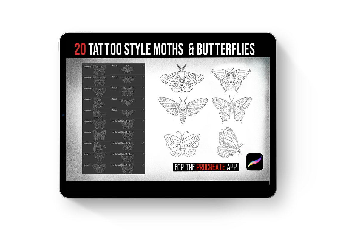 Procreate Tattoo Moths & Butterflies Brush Set