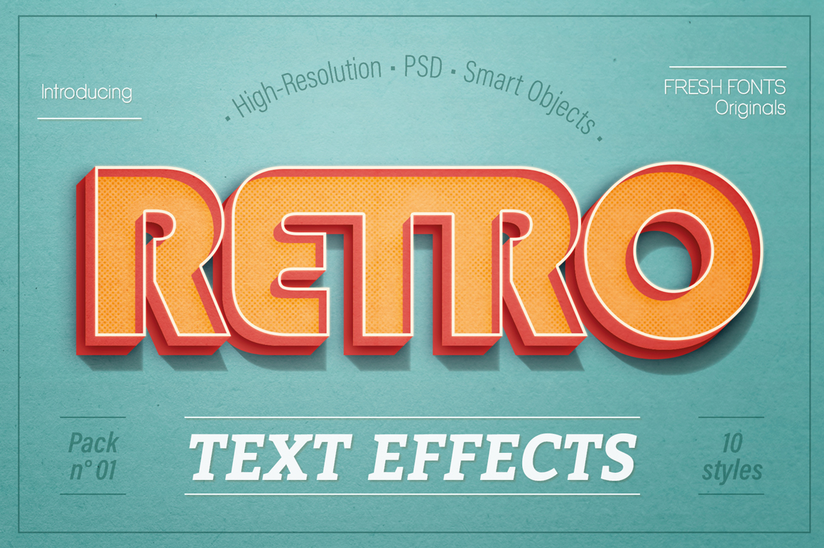 Retro Photoshop Text-Effects Pack 1