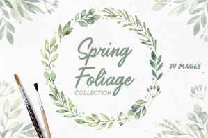 Spring Foliage. Watercolor Set