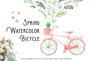 Spring Watercolor Floral & Bicycle Collection