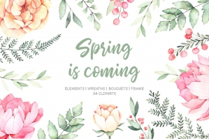 Spring is Coming Watercolor Flowers and Wreaths