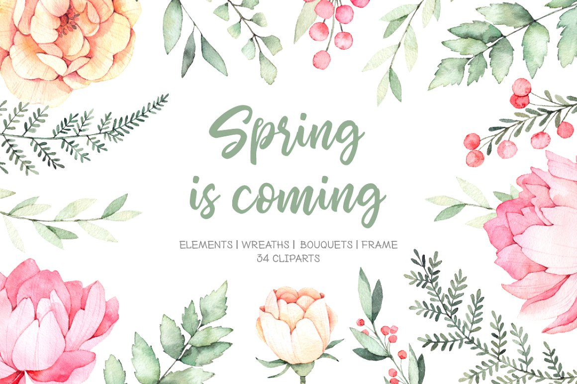 Spring is Coming Watercolour Flowers and Wreaths
