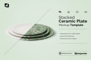 Stacked Ceramic Plate Mockup
