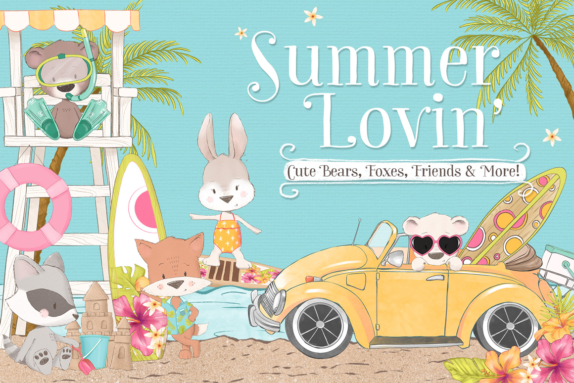 Summer Lovin' Animal Clipart Kit