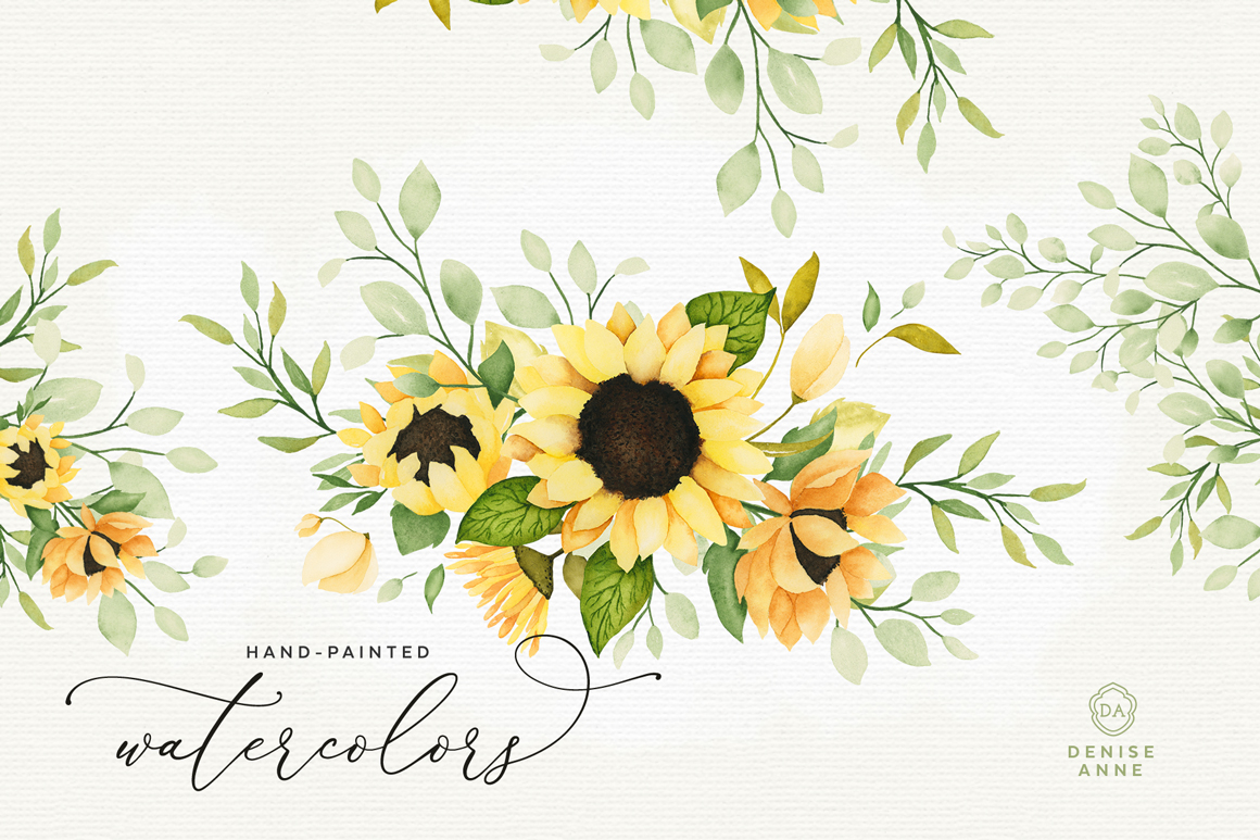 Sunflower Watercolor Flowers and Leaves