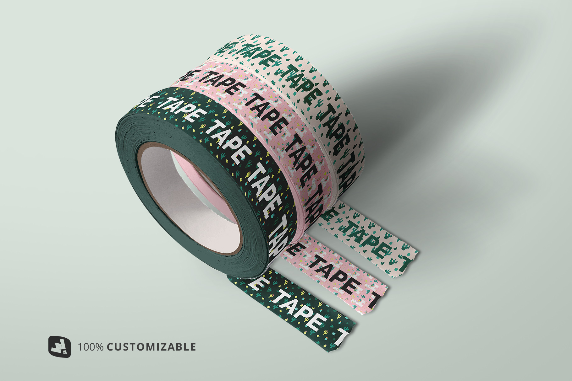 Themed Washi Tape Roll Mockup