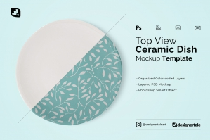 Top View Ceramic Dish Mockup