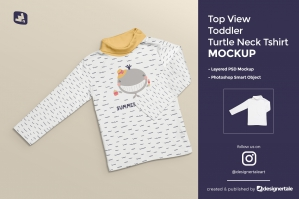 Top View Toddler Turtle Neck T-shirt Mockup