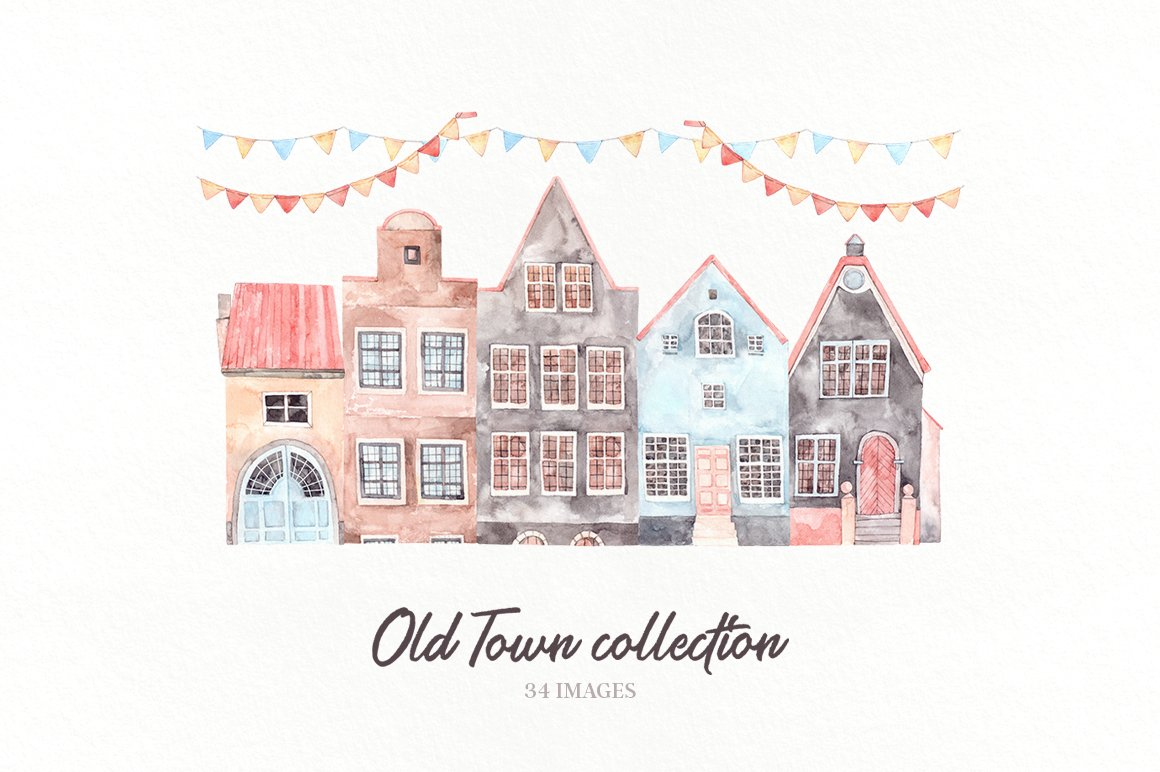 Watercolor Old Town House