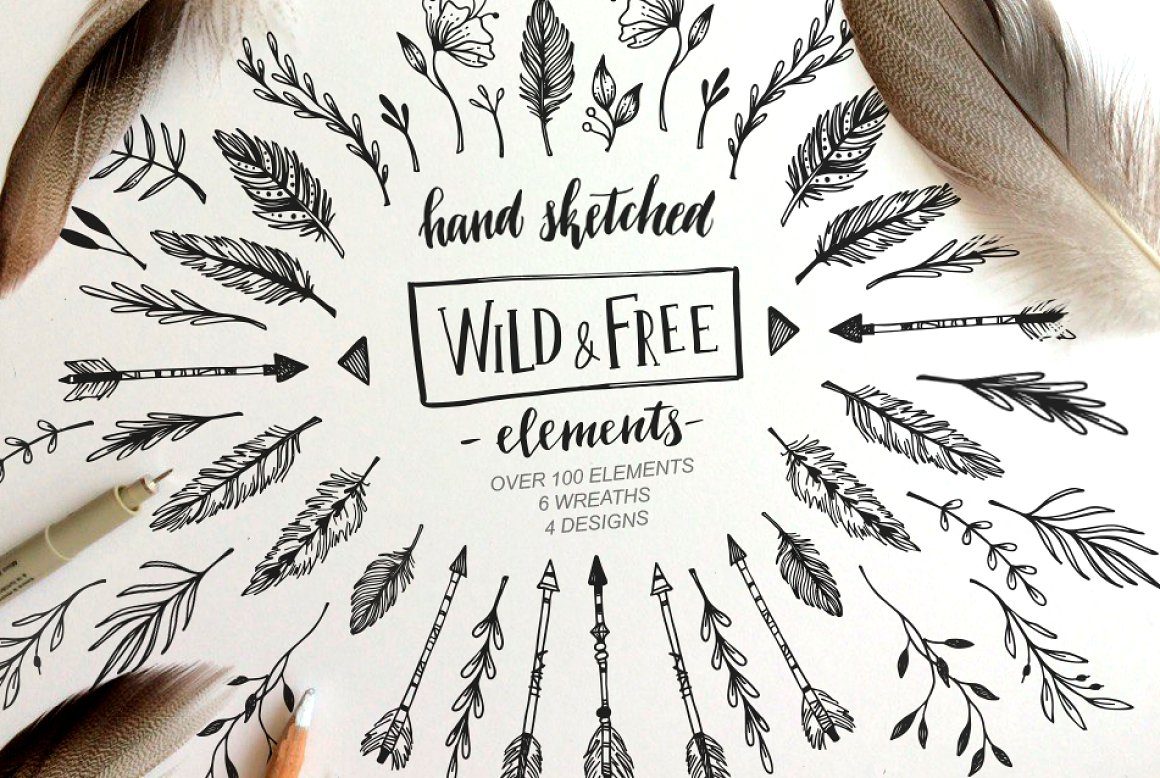 Wild and Free. Floral Design Element