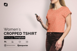 Women's Cropped T-shirt Mockup