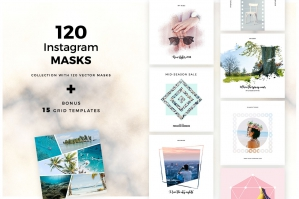 120 Vector Masks for Posts