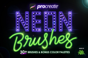 30+ Procreate Neon Brushes