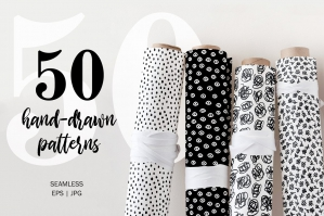 50 Hand-Drawn Monochrome Seamless Patterns Set