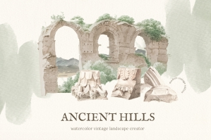 Ancient Hills Vintage Landscape Set