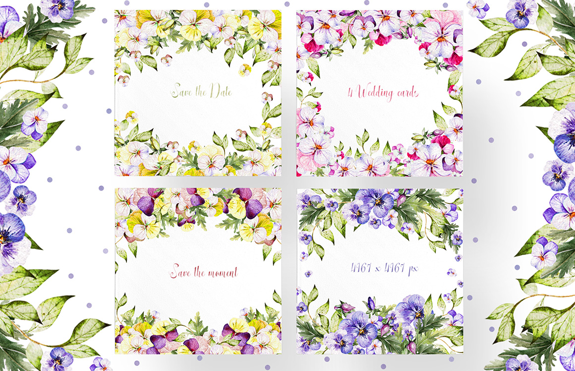 Beautiful Watercolor Pansy Flowers