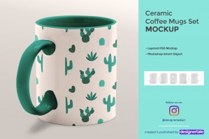 Ceramic Coffee Mugs Mockup Set