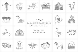 Farming & Gardening Line Icon Set