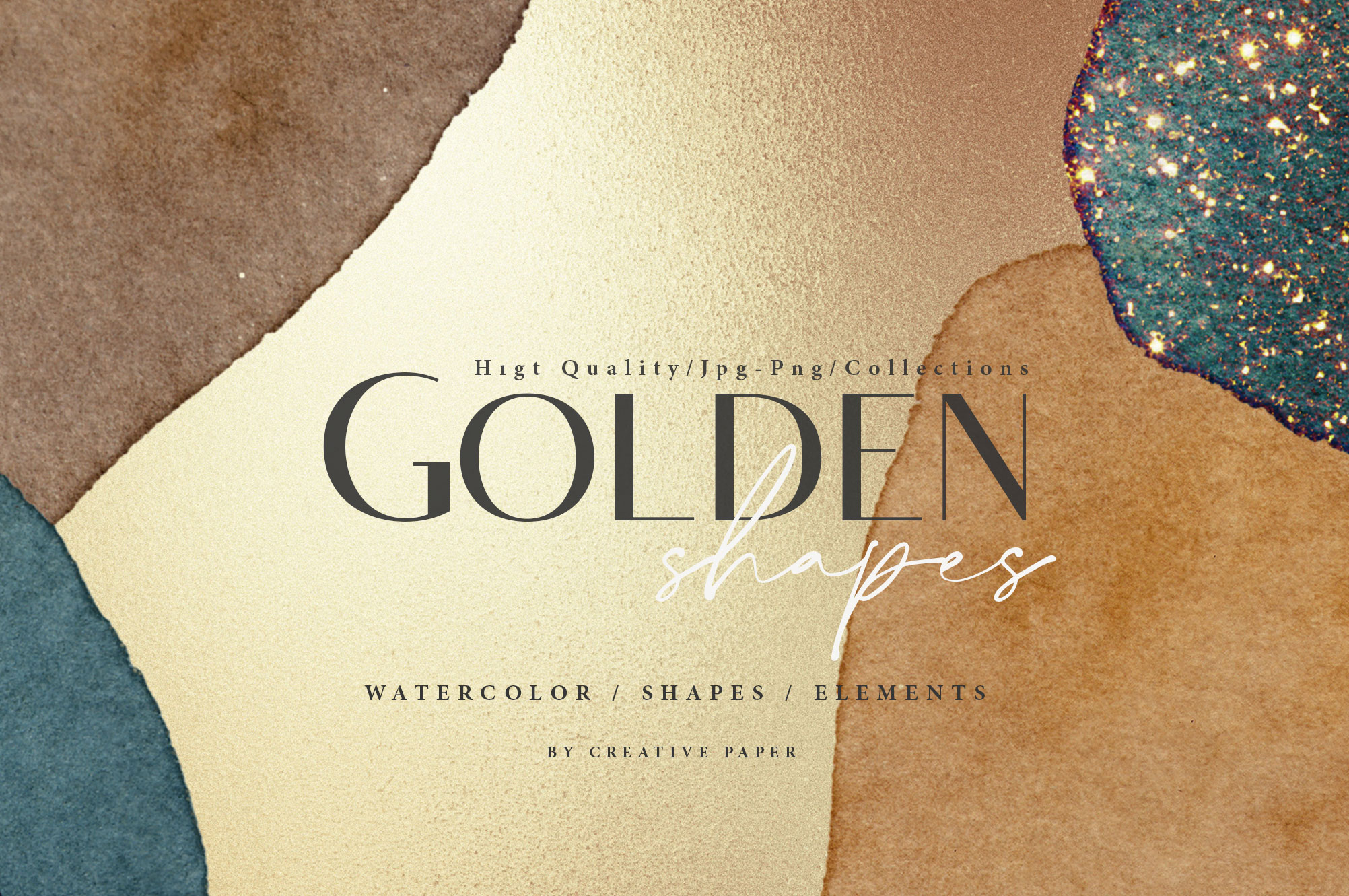 Gold Watercolor Shapes JPG and PNG Overlays