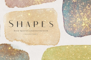 Gold Watercolor Shapes .PNG Overlays